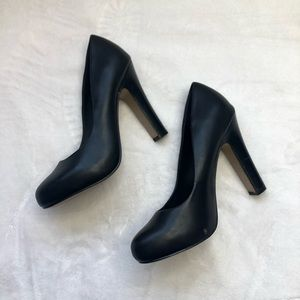 Aldo shoes pump black leather thick heel 7.5